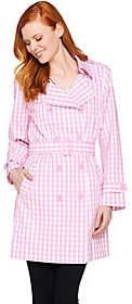 Joan Rivers Classics Collection Joan Rivers Belted Gingham Trench Coat