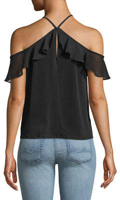 BCBGeneration Halter-Neck Cold-Shoulder Chiffon Top