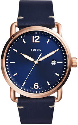 Fossil Men's Commuter Blue Leather Strap Watch 42mm FS5274
