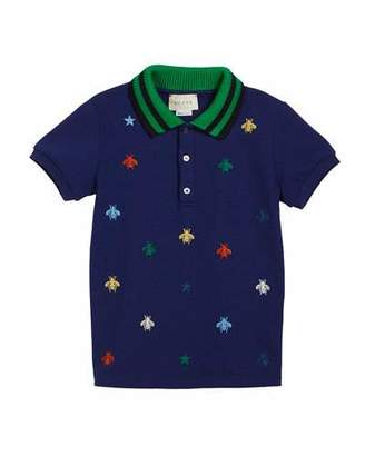 Gucci Bee-Embroidery Polo w/ Knit Collar, Size 12-36 Months