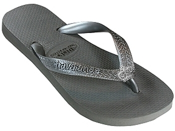 Dini's - Women's Grey Silver Crown Flip Flop