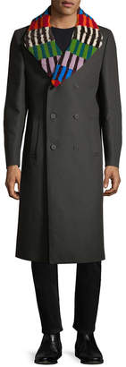 Fendi Stripe Notch Wool Coat
