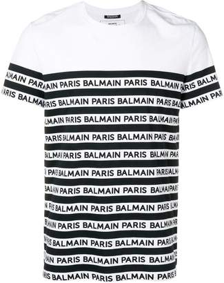 Balmain striped logo T-shirt