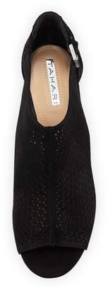 Elie Tahari Stage Perforated Peep-Toe Wedge Sandals