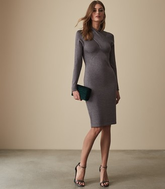 Reiss ALETHIA METALLIC TWIST NECK KNITTED DRESS Grey