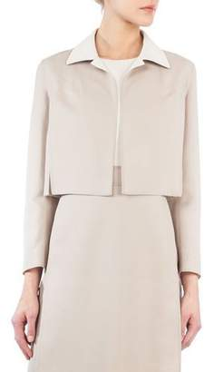 Akris Open-Front Long-Sleeve Cropped Wool-Silk Jacket