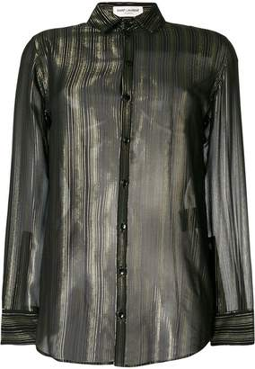 Saint Laurent stripe sheer long-sleeve shirt