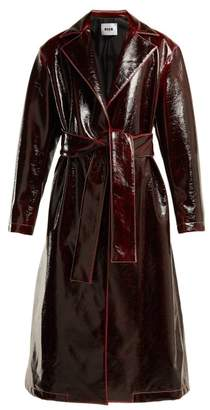 MSGM Crinkle Effect Vinyl Coat - Womens - Burgundy