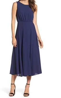 Betsey Johnson Women's Pebble Crepe Maxi Dress with Drape Back