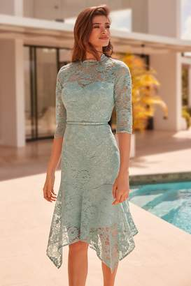 7e33e62b9d Next Lipsy VIP Long Sleeve Lace Belted Dress - 8