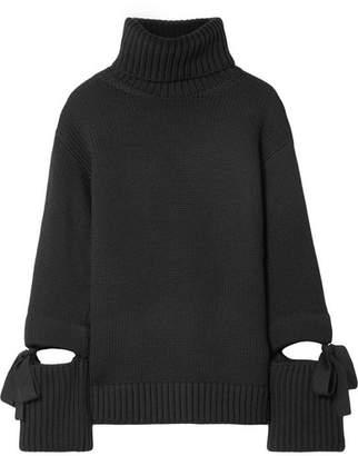 Oscar de la Renta Oversized Tie-detailed Wool Turtleneck Sweater - Black