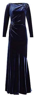 Teri Jon by Rickie Freeman by Rickie Freeman Women's Long-Sleeve Velvet Appliqué Gown