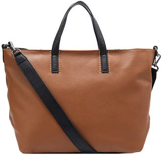 Brix And Bailey Large Camel Pebbled Leather Top Handle Tote