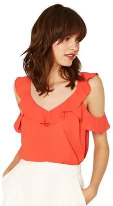 Oasis Bright Orange Cold Shoulder Frill Vest