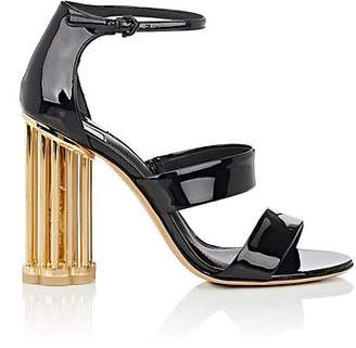 Salvatore Ferragamo Women's Caged-Heel Patent Leather Sandals - Black