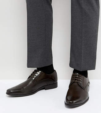 Asos Design Wide Fit Derby Brogue Shoes In Brown Faux Leather