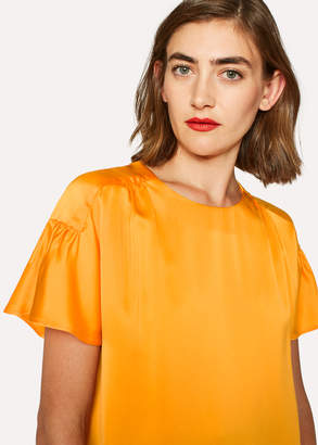Paul Smith Women's Orange Satin Flute Sleeve Top