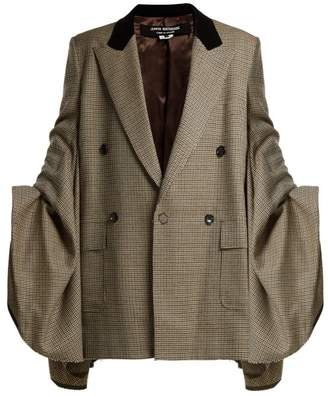 Junya Watanabe Houndstooth Check Ruched Sleeve Wool Blazer - Womens - Beige Multi