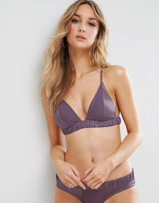 Asos Satin and Matte Contrast Triangle Bikini Top