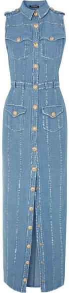 Balmain Cotton And Linen-blend Chambray Maxi Dress