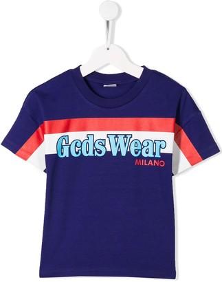 Gcds Kids stripe detail logo T-shirt