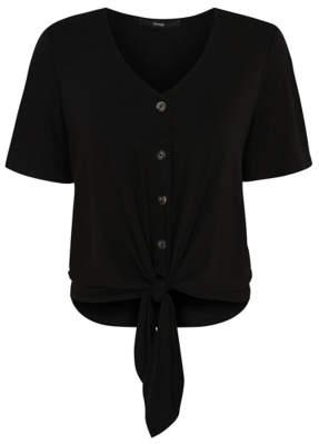 George Black Button-Down Tie Front Blouse