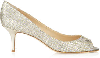 Jimmy Choo ISABEL Champagne Glitter Fabric Peep Toe Pumps