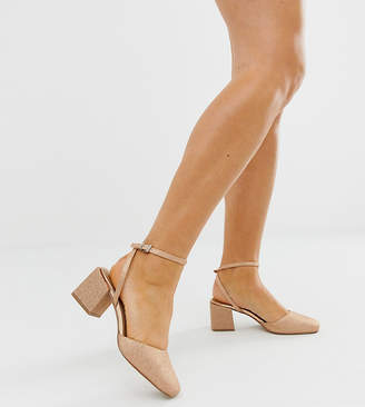 Asos Design DESIGN Wide Fit Salvation square toe block heeled mid shoes in rose gold glitter