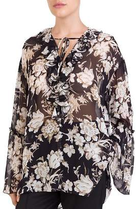 The Kooples French Baroque Ruffled Floral-Print Top