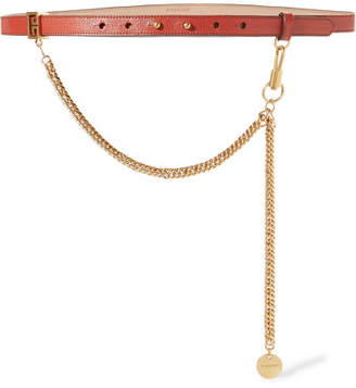 Chain-trimmed Textured-leather Waist Belt - Brick