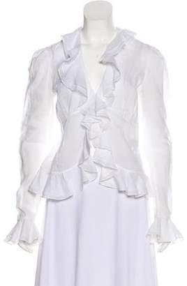 Lauren Ralph Lauren Ruffle-Accented Long Sleeve Blouse