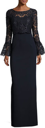 Rickie Freeman for Teri Jon Long Bell-Sleeve Sequined Lace Popover Gown, Blue $860 thestylecure.com