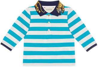 Baby striped cotton polo with tiger $280 thestylecure.com