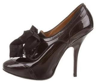 Lanvin Pointed-Toe Lace-Tie Booties Black Pointed-Toe Lace-Tie Booties