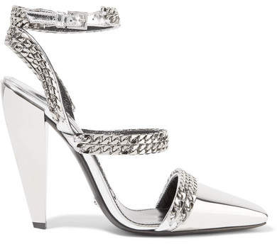 TOM FORD - Chain-embellished Mirrored-leather Pumps - Silver