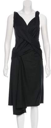 David Szeto Sleeveless Drape-Accented Dress