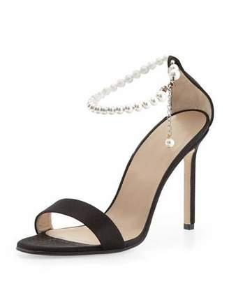 Manolo Blahnik Chaos Pearly Ankle-Wrap Sandal, Black $865 thestylecure.com