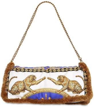 Versace Printed Silk Pillow Bag W/ Fringe