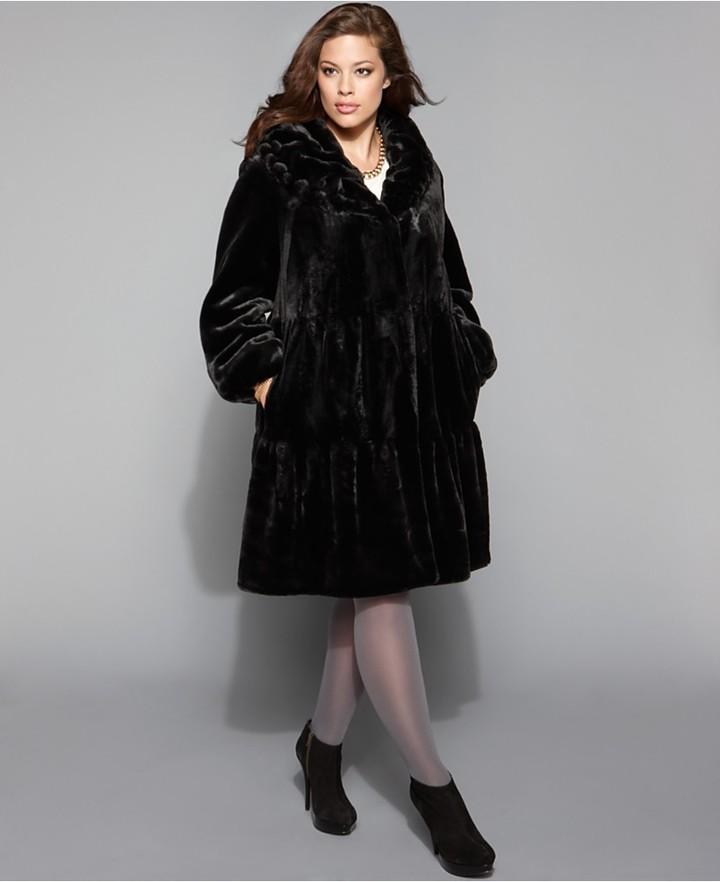 Jones New York Plus Size Coat, Tiered Scrunch Collar Faux Fur