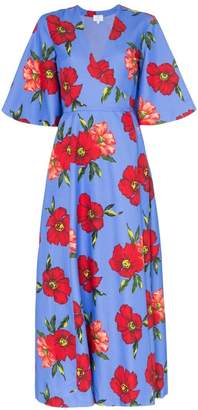 Rebecca De Ravenel floral print silk wrap dress