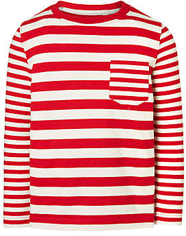 John Lewis Boys' Variegated Stripe Top, Red/White