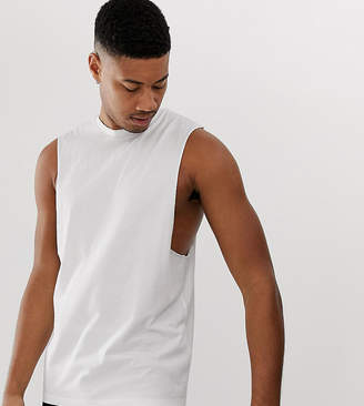 Asos Design DESIGN Tall organic relaxed sleeveless t-shirt with dropped armhole in white
