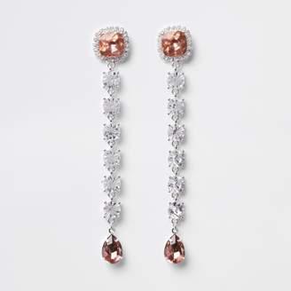 River Island Womens Silver tone diamante drop earring