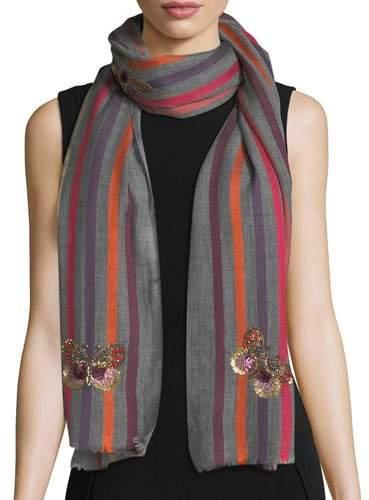 Janavi Butterfly Wool-Silk Striped Scarf