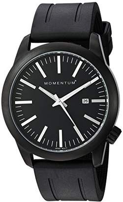 Momentum Men's Quartz Watch | Logic 42 by |IP Black Stainless Steel Watches for Men | Sports Watch with Japanese Movement & Analog Display | Water Resistant Watch with Date – Black/Black Rubber