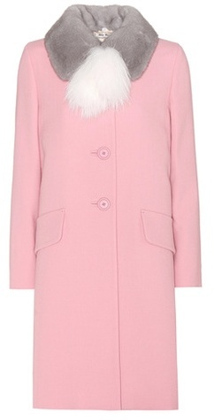 Miu Miu Miu Miu Virgin Wool Coat With Fur