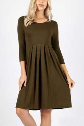 Z Pleated Waist Dress w/ Pockets