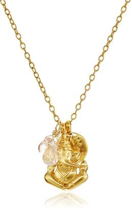 Satya Jewelry Cherry Quartz, Rose Quartz, Ganesha and Satya Lotus Pendant Necklace, 24""