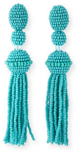 Oscar de la Renta Long Beaded Tassel Clip-On Earrings $395 thestylecure.com