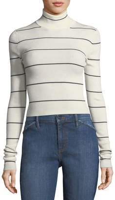 Theory Striped Long-Sleeve Cropped Refine Turtleneck Sweater